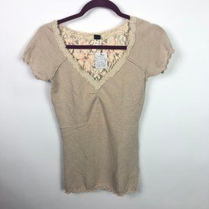 We the Free Thermal Beige Top Size M NWT